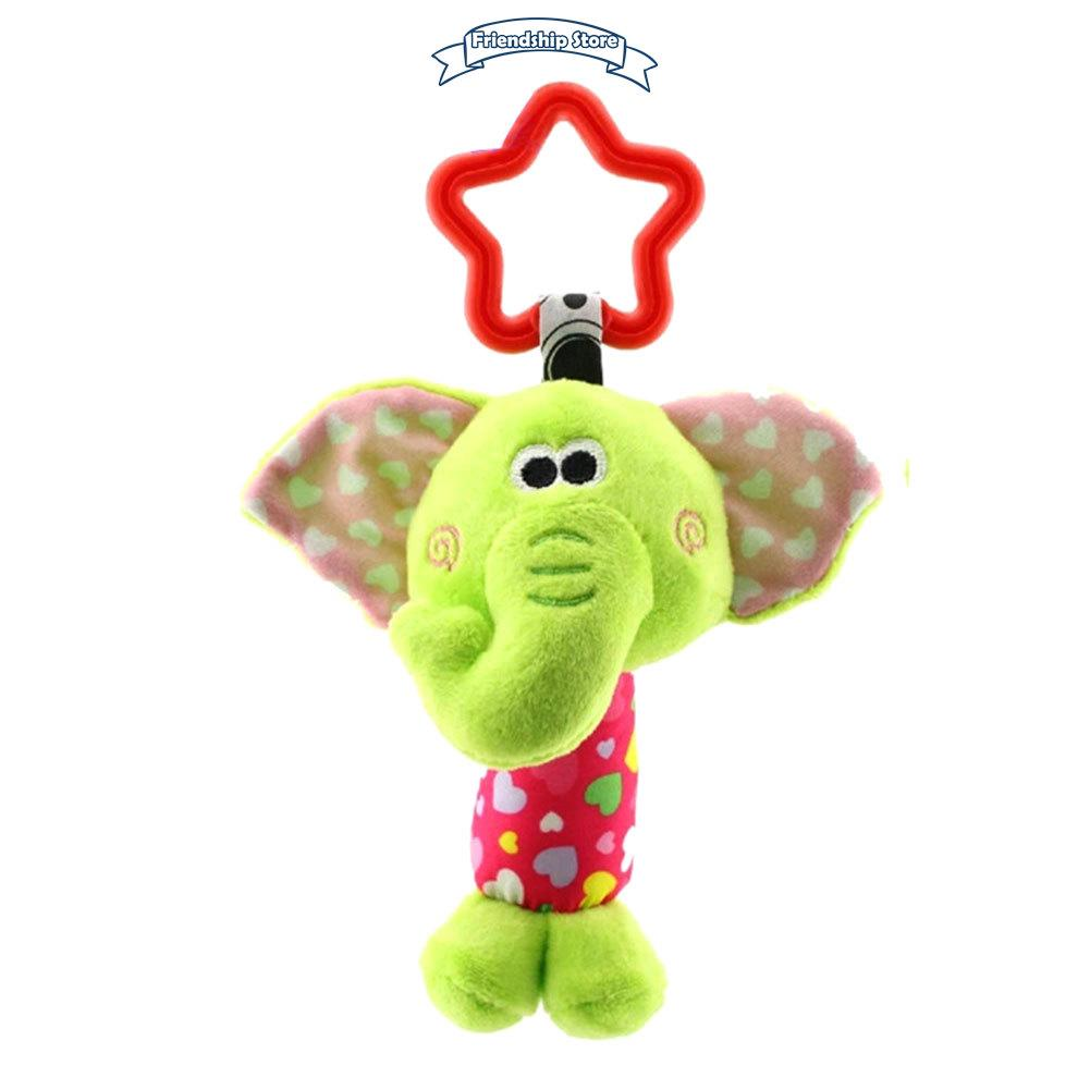 ◇FS Children Plush Toys Colorful Animal Hanging Bed Crib Stroller Appease Doll Rattle Grasping Toy Gift