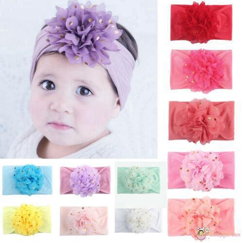 ◕ω◕ღ♛ღBaby Girls Cute Flower Elastic Hair Band Bow Headband Headdress