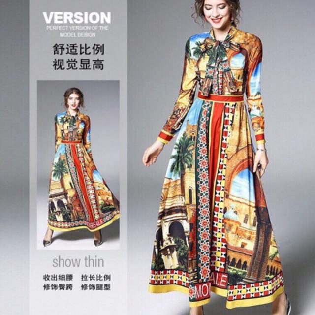 Đầm maxi sơ mi in hoạ tiết và ảnh thật