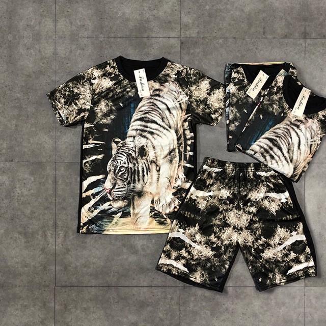 Bộ Quần áo hè nam 3D hổ xuống núi cực mát chuẩn store, chất đẹp Bộ hè