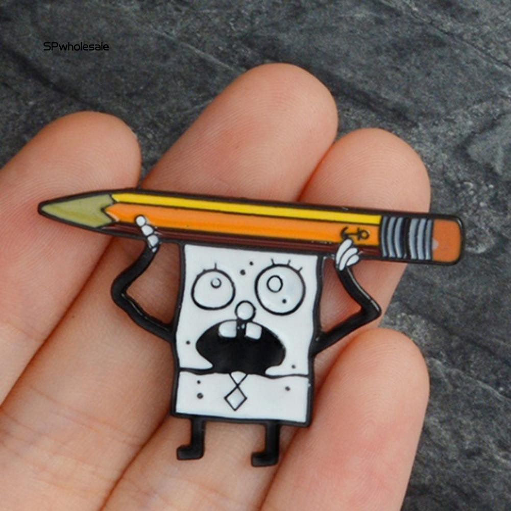 Pins Cute Cartoon Spongebob Enamel Unisex Jewelry Brooch Pin Coat Shirt Collar Decor