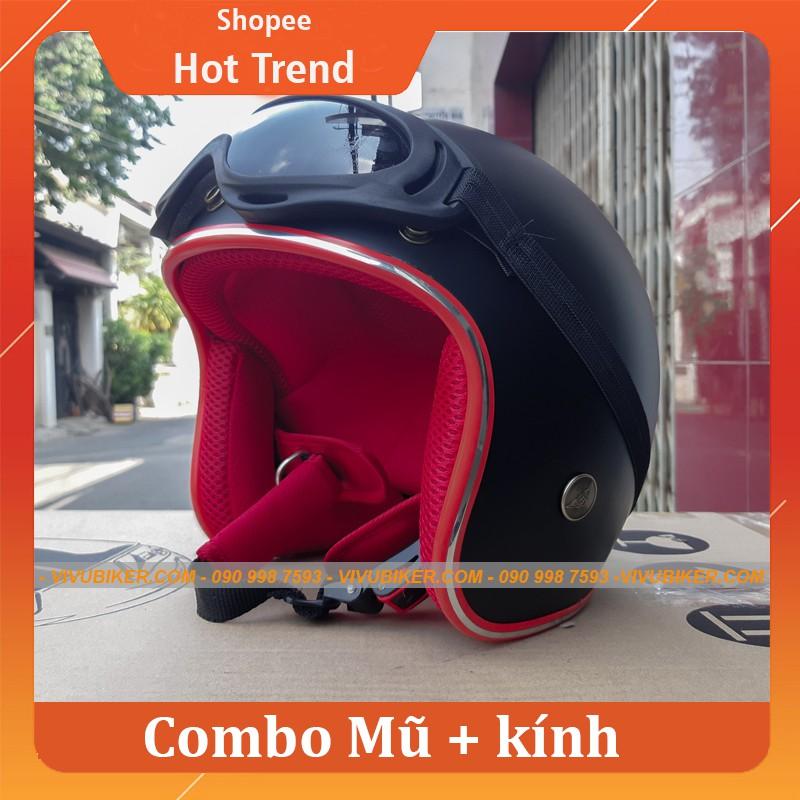 Mũ bảo hiểm 3/4 ntmax màu đen lót đỏ kèm kính UV - Mũ 3/4 đen lót đỏ chính hãng bảo hành 12 tháng siêu cute