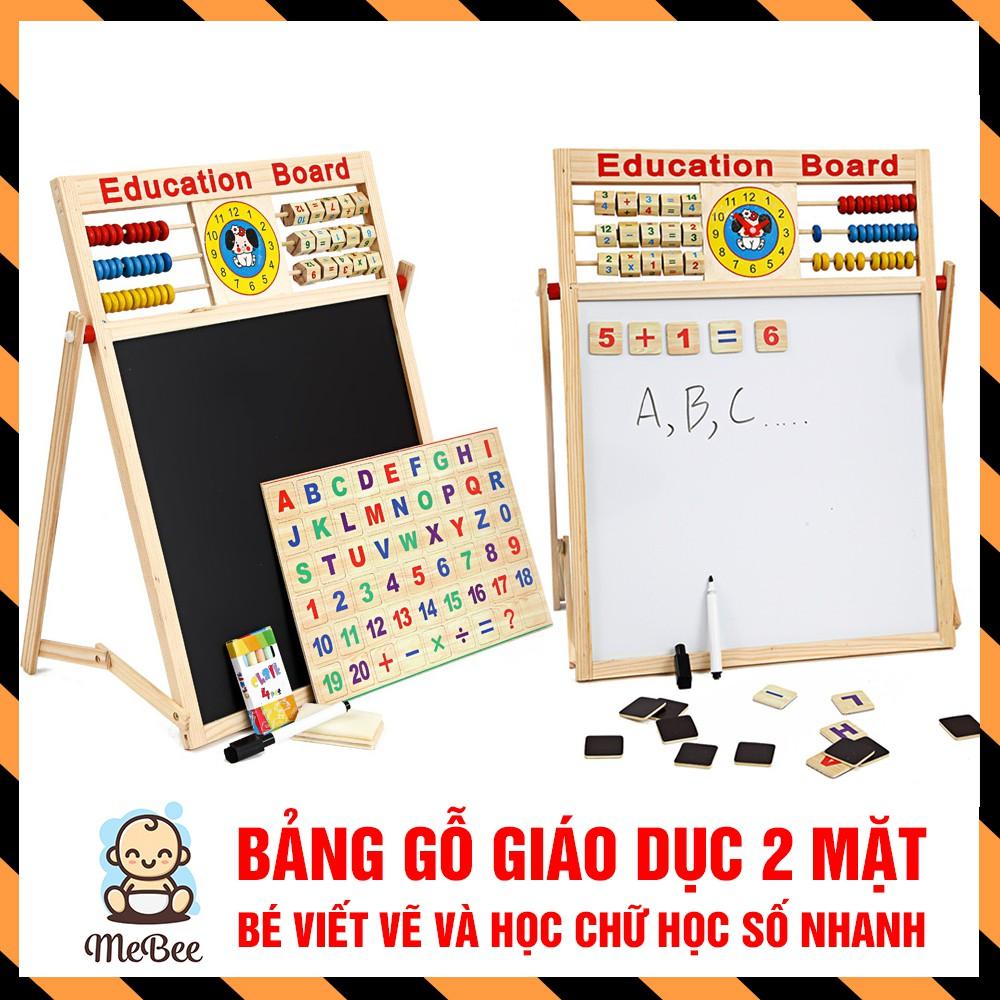 Bảng gỗ giáo dục 2 mặt nam châm cho bé viết vẽ, học số, học chữ cái