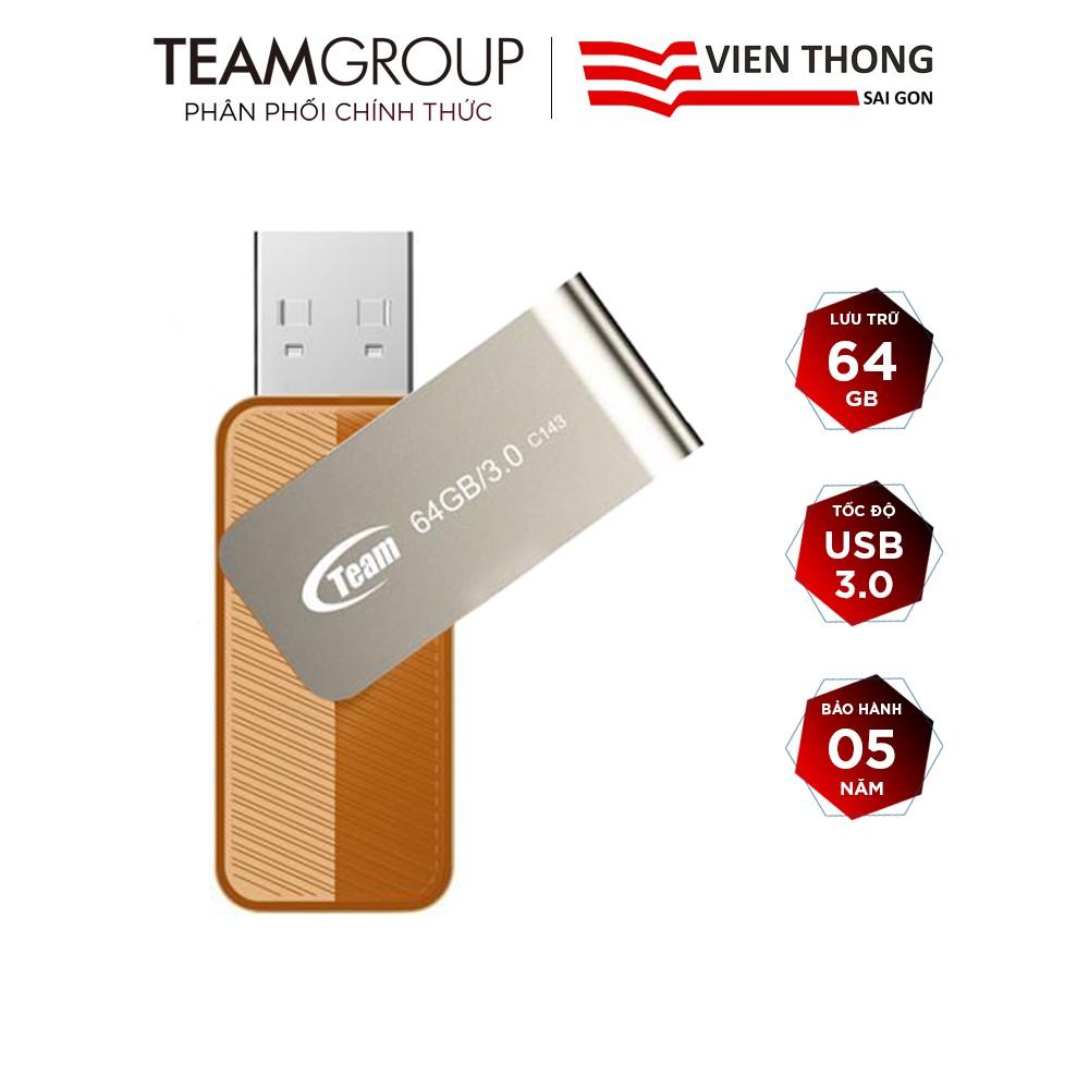 USB 3.0 Team Group C143 64GB nắp xoay 360 - Hãng phân phối chính thức