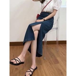 [Hàng order] Chân váy jean cạp cao xẻ tà( kèm ảnh thật)