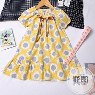Váy bé gái dáng xoè họa tiết hoa hướng dương chất liệu thô cotton mềm mát đủ size cho bé
