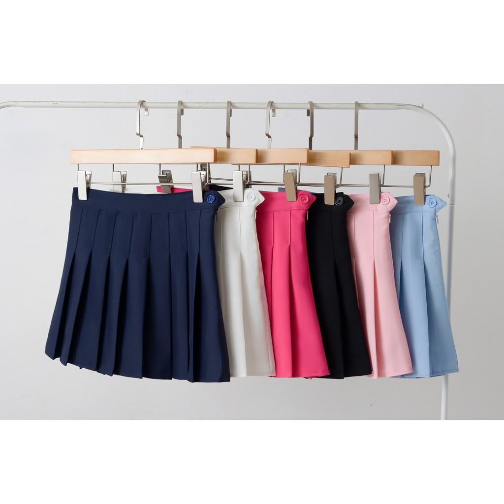 Chân Váy Tennis trơn xếp ly dáng chữ A Size to ulzzang phong cách JK nữ sinh Nhật Bản Hàn Quốc big size Đen Trắng Hồng