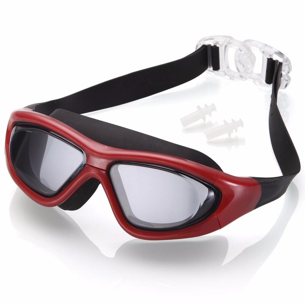 Kính bơi tầm nhìn rộng 180 Độ, tráng gương, chống sương mờ - RED POPO Collection (Đỏ)