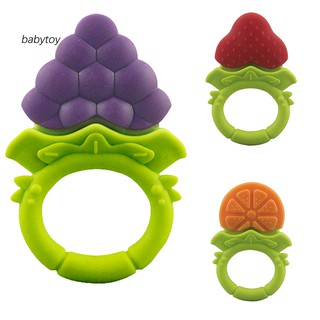 [Baby]Baby Silicone Fruit Grape Strawberry Orange Teether Teething Chew Ring Toy Gift