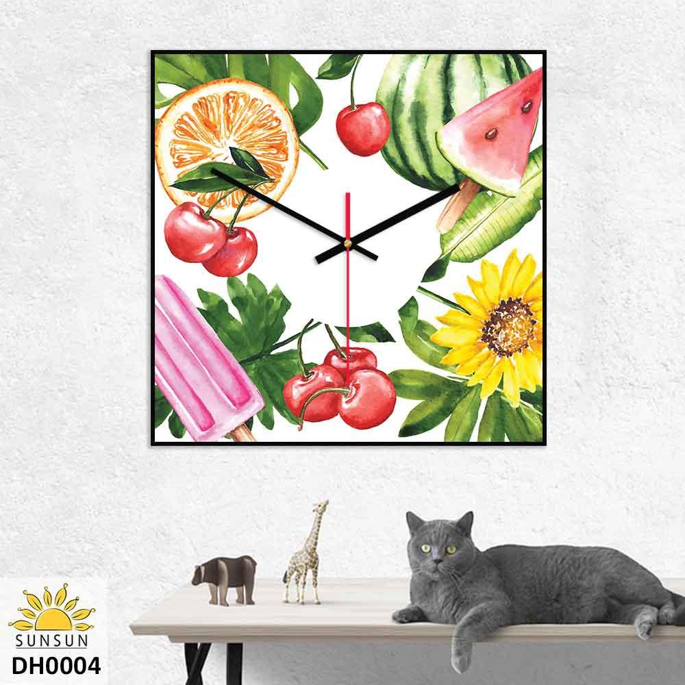 Đồng hồ treo tường vuông Trái Cây Nhiệt Đới | MS DH0004
