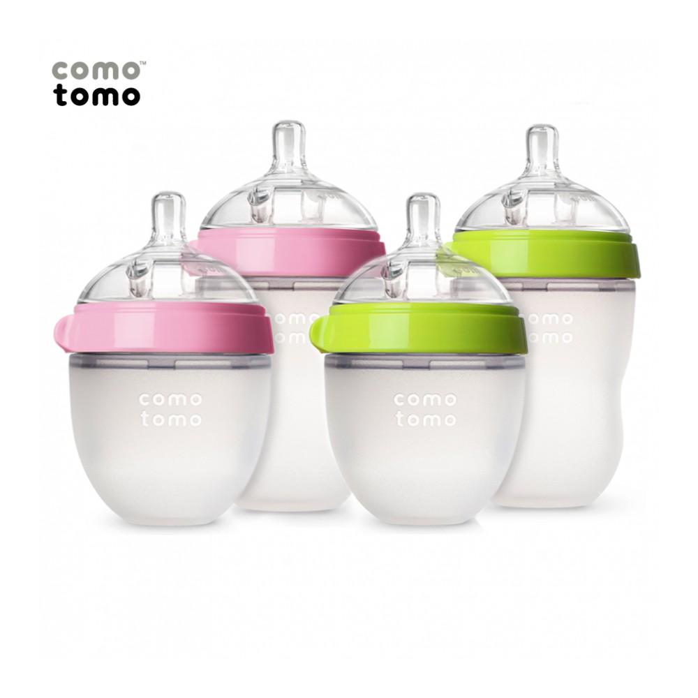 Bình sữa silicone Comotomo 250ml- Xanh, hồng