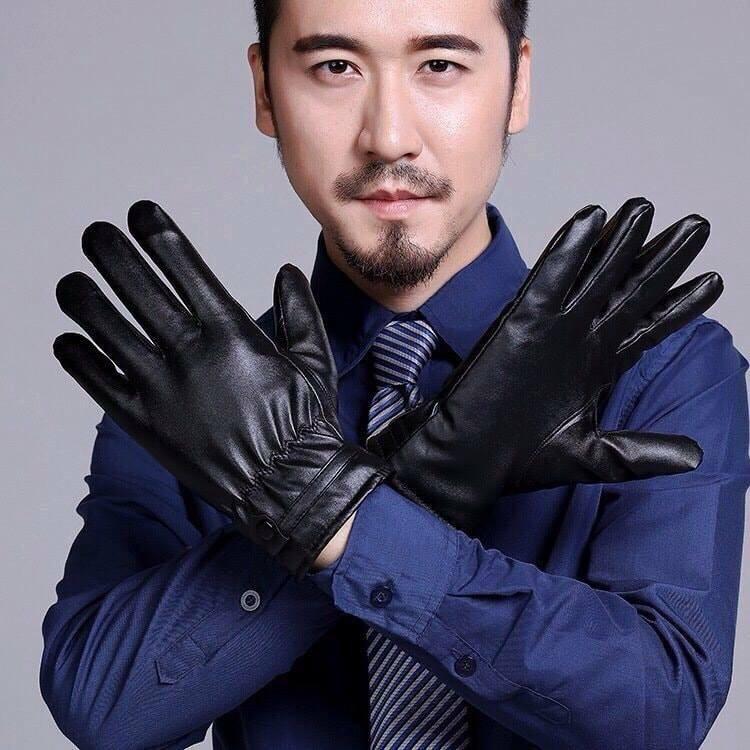 Găng tay da lót lông cảm ứng