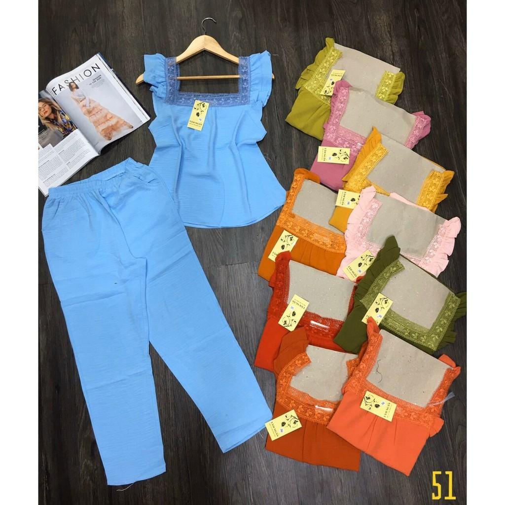 bộ dài vải đũi cổ phối ren siêu xinh cbs-2031 cubis shop