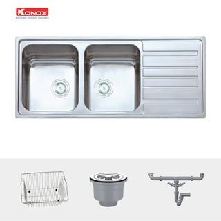 Chậu rửa bát có bàn chờ Konox European Artusi KS11650 1D, Inox 304AISI, Fullset: Siphon + Giá úp bát inox