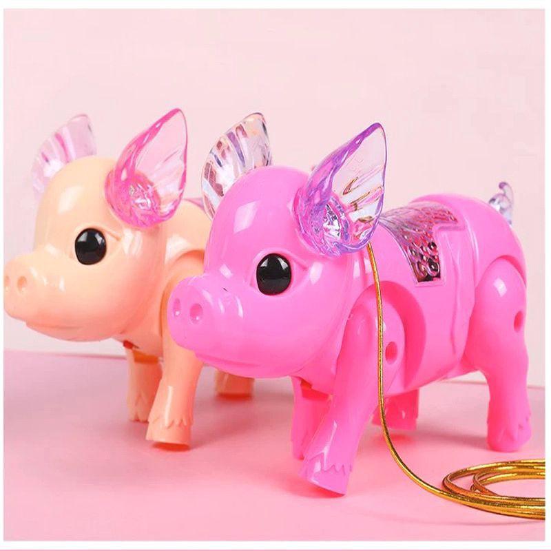 [Mã TOYNOV hoàn 20K xu đơn 50K] Đồ chơi chú heo/lợn biết đi có đèn và nhạc kèm dây dắt...