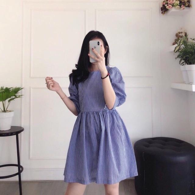 Đầm babydoll caro