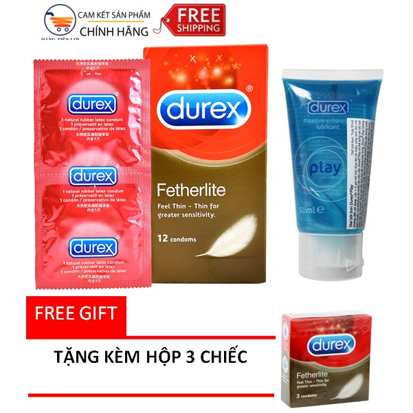 [ CAM KẾT CHÍNH HÃNG ] Bộ Bao cao su Durex Fetherlite 12s + 1 gel Durex intimate - Tặng kèm hộp 3s