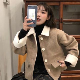 Áo Khoác Len Dài Tay Phong Cách Hàn Quốc Thời Trang Dành Cho Nữ