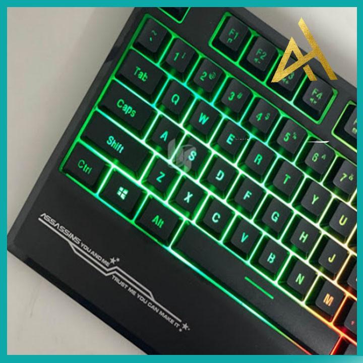 Bàn Phím Máy Tính Laptop Chơi Game ASSASSINS AK5000 PLUS  Đèn LED 7 Màu Có Kê Tay - Bàn phím Cơ Keyboard Gaming Có Dây