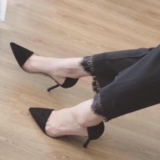[Xưởng giày VNXK] Giày cao gót quai trong da lộn mũi nhọn gót nhọn 8p đẹp xuất sắc thumbnail