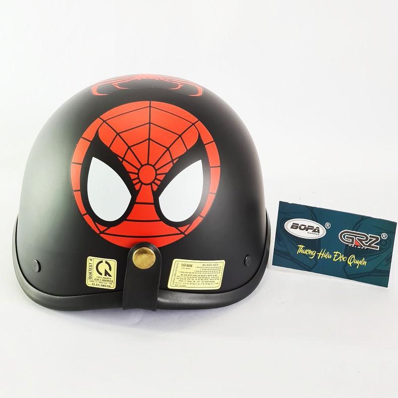 [HÌNH TỰ CHỤP] Nón bảo hiểm nửa đầu có mỏ tem SPIDER MAN , CAPTAIN, MONSTER