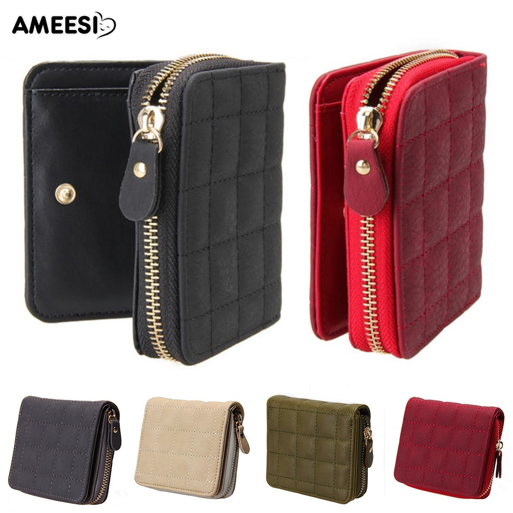 👜👝AMEESI Faux Leather Wallet Plaid Lines Card Holder Zipper Purse
