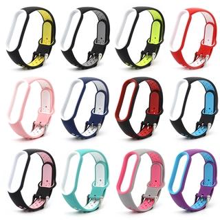 Dây Đeo Thay Thế Chất Liệu Silicon Màu Trơn Cho Xiaomi Mi Band 3 4 5 Strap Double Color Original Soft Silicone Strap Replacement Wrist Strap Band Wriststrap Miband 3 4 5 Wristband Smartwatch