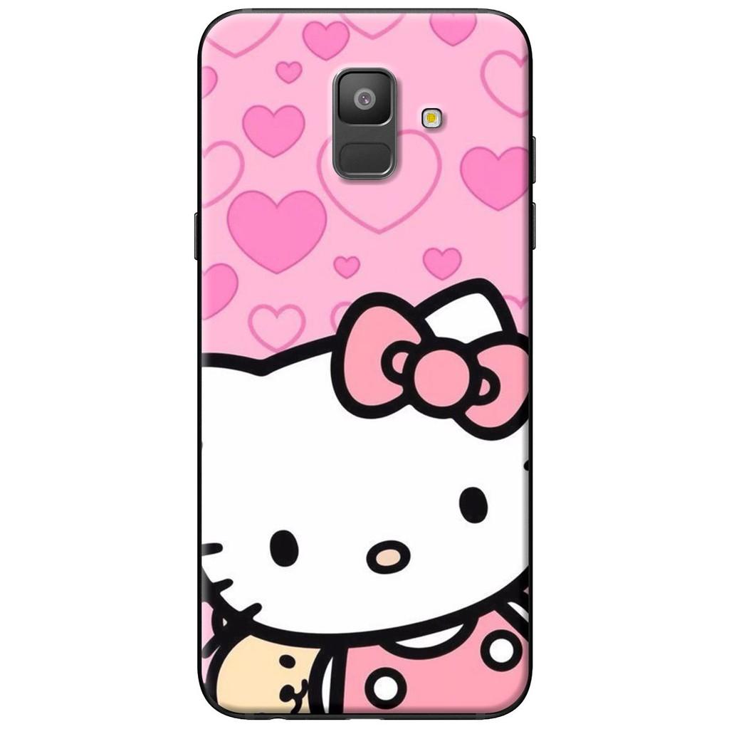 Ốp lưng nhựa dẻo Samsung A6 2018, A6 Plus mèo hồng trái tim