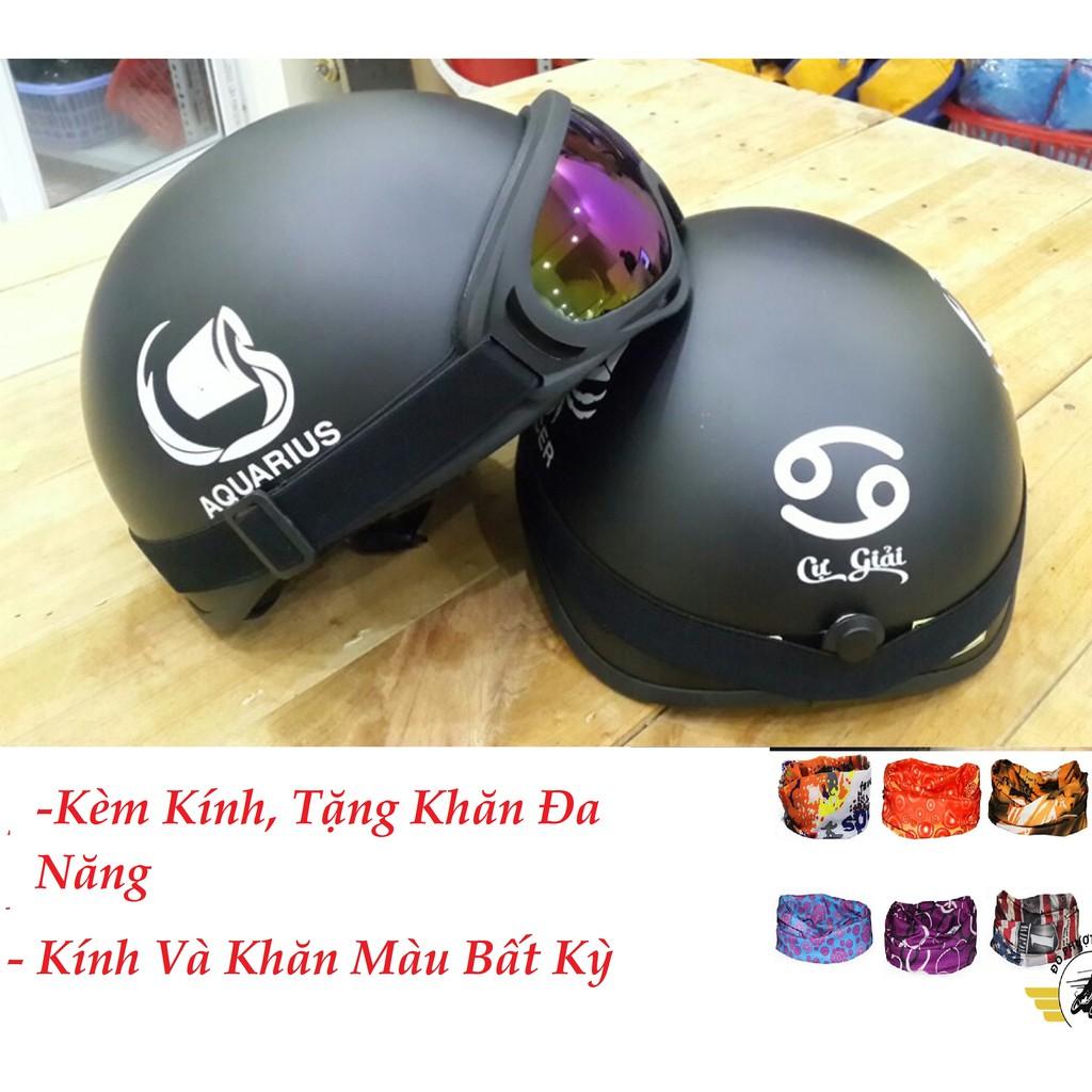 (Kèm Kính) Mũ Bảo Hiểm 12 Cung Hoàng Đạo,Nón Bảo Hiểm Nửa Đầu, Nón Phượt