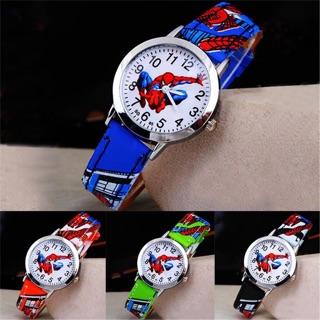 Đồng hồ kim bé trai siêu nhân người nhện mặt kính dây da pu
