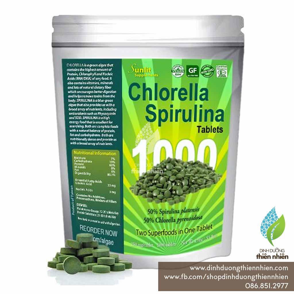Tảo Spirulina & Chlorella Hữu Cơ Sunlit, 4 túi