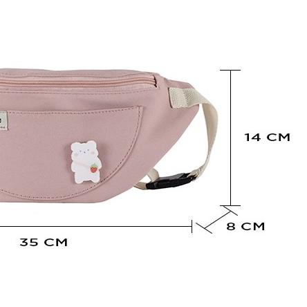 Túi bao tử vải vanvas đeo chéo trơn mềm đi học đẹp giá rẻ đính họa tiết chú gấu dễ thương