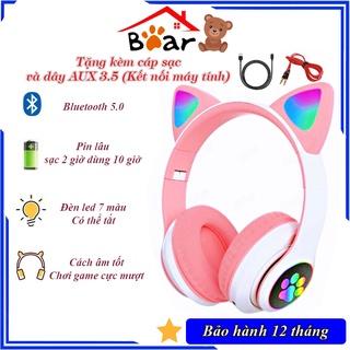 Tai nghe mèo bluetooth chụp tai cao cấp, Tai nghe mèo hồng dễ thương có micro đàm thoại, chơi game. Headphone phát sáng