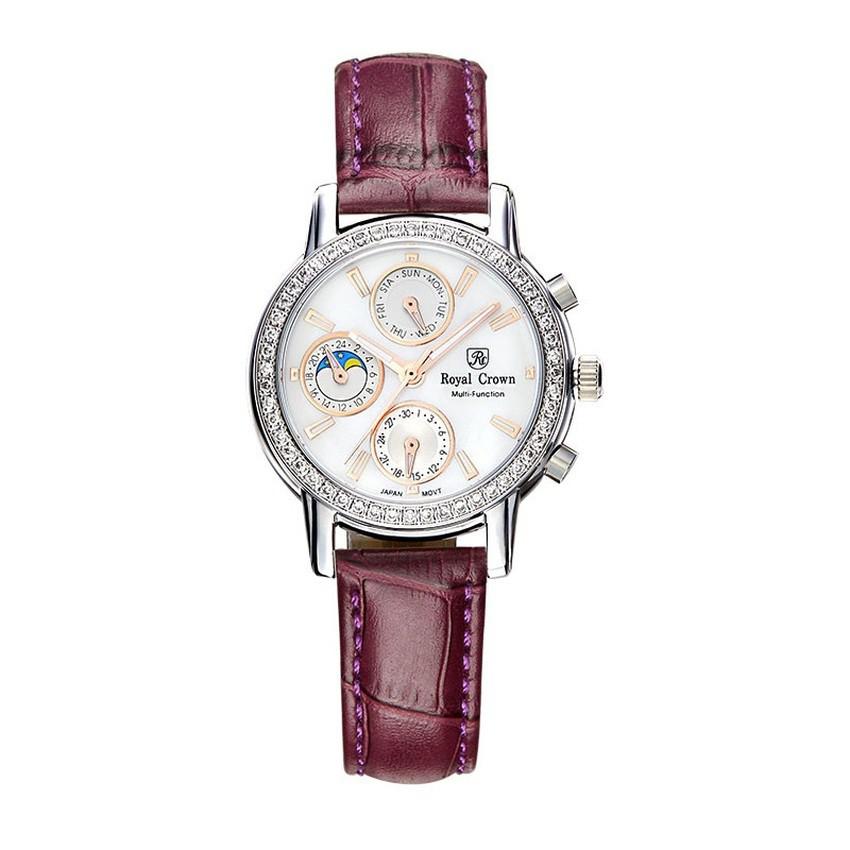 Đồng hồ Chính Hãng Royal Crown 6420 Leather Strap Watch (Tím)
