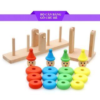 Bộ cân bằng gỗ 4 chú hề lắp ghép trí tuệ giáo dục giá rẻ nhất cho bé