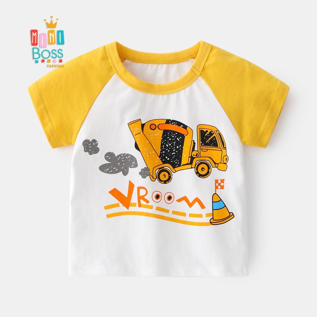 Áo thun ngắn tay cotton cho bé 10-22kg Quảng Châu họa tiết ngộ nghĩnh   Áo cộc tay cho bé trai 1-8 tuổi