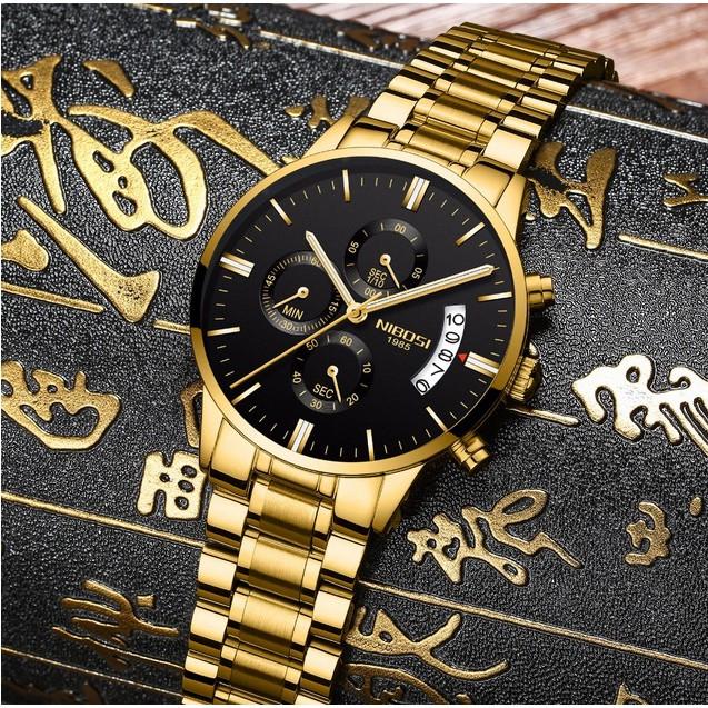 Đồng hồ nam dây thép đặc 6 kim Nibosi (fullbox)