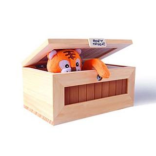 WX_Cartoon Tiger Wooden Useless Box Creative Adult Kids Gift Toy Desktop Decor