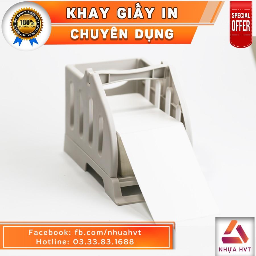 Khay đựng giấy NHỰA HVT cho máy in nhiệt HPRT size giấy 100*100, 150*100 màu trắng sữa
