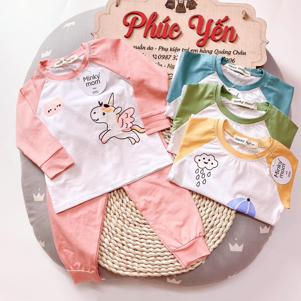 Sale !!!Bộ Dài Tay Cotton 100 % Minky Mom In Họa Tiết Động Vật  Thú Lướt Ván_super Sale ( 7-19kg) (1327)