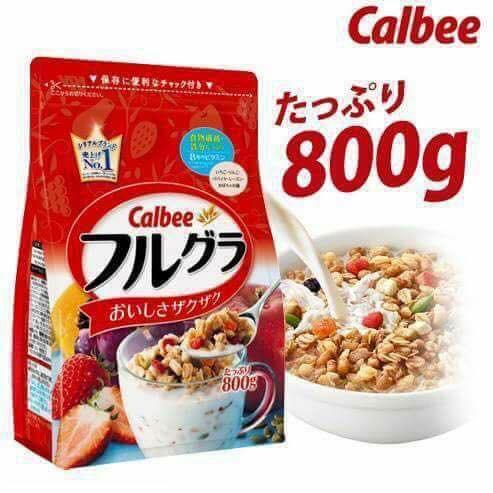 2 gói Ngũ cốc sấy khô Calbee hàng Nhật nội địa loại 800g date t7/2018