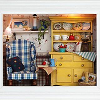 Mô hình nhà búp bê gỗ – Khung tranh treo tường căn phòng xinh xắn với ghế tựa màu xanh (09-A)