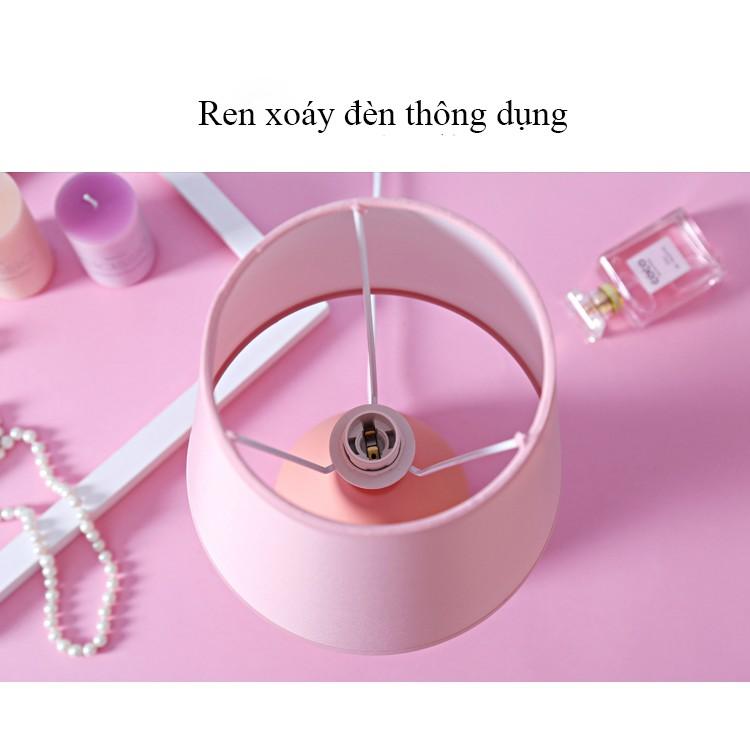 Combo đèn ngủ cây đứng và đèn ngủ để bàn màu hồng
