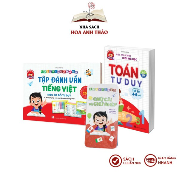 Sách - Tập đánh vần tiếng Việt 2021 và toán tư duy cho trẻ từ 4-6 tuổi kèm thẻ - Combo 2 quyển