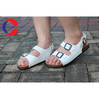 Giày sandal nam nữ 2 khóa trắng đế trấu