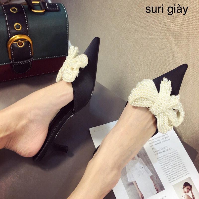 Dép sục nữ Freeship Sục nơ ngọc gót nhọn cao 2p thời trang êm chân fullbox