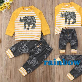 ♛loveyourself1♛-Best Toddler Baby Boy Girl Clothes Rhinoceros Printed Outfits Yellow Tops T-shirt +Long Pant 2Pcs Set 0-24M