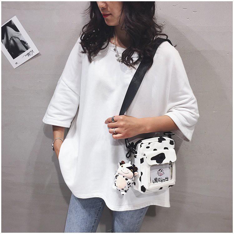 Túi đeo chéo Bò Sữa phong cách Hàn Quốc Không bao gồm gấu bông