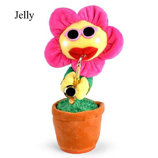 Funny Saxophone Dancing Sunflower Flower Electric Plush Toy for Kids J423