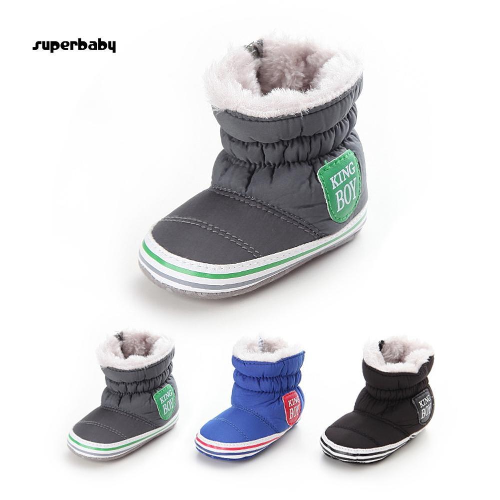 SBaby-Baby Boy Warm Velvet Lining Snow Boots Anti-slip Soft Sole Prewalker Crib Shoes